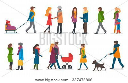 People Wearing Warm Clothes In Winter Vector. Woman With Kid Sitting On Sledges. Mother And Father W