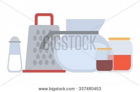 Glass Jar Container Vector, Isolated Kitchen Tools And Instruments, Water And Grinder And Spices In