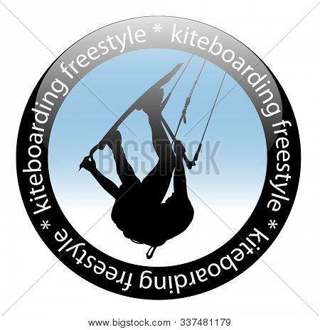 Illustration Extreme sport, Kiteboarding jump, Freestyle Rider Icon, isolated on white background.