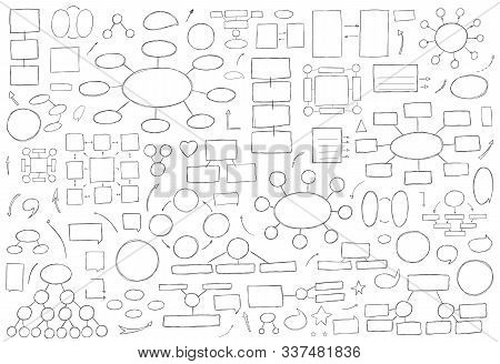 Hand Drawn Vector Illustration. Square, Arrow, Circle, Diagram And Pointers Business Strategy