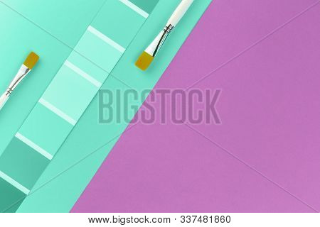 Trendy Pastel Biscay Green Color Swatches With Grape Pink Background And Paint Brushes. Color Palett
