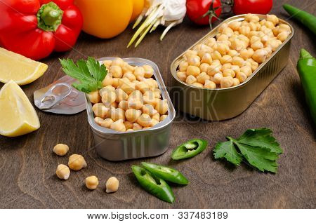 Canned Chickpeas In A Tin