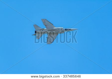 Cadiz, Spain-sep 12: Aircraft Mirage F-1  Taking Part In An Exhibition On The 1st Airshow Of Cadiz O