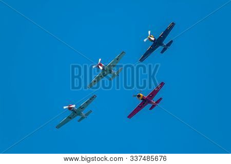 Cadiz, Spain-sep 13: Aircrafts Of The Acrobatic Patrol Jacob 52 Taking Part In An Exhibition On The