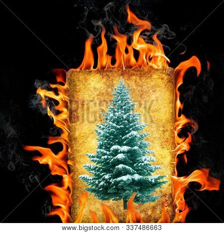 Bonfire picture frame with image christmas tree.