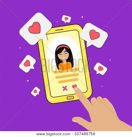 Dating Smartphone App Concept. Date App Valentines Day Holiday. Flat Style Smartphone With Girl, Han