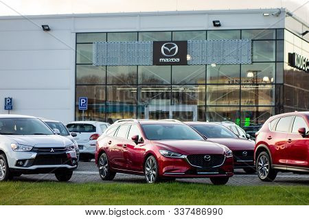 Ostrava, Czechia - December 3, 2019: Several Mazda, Mitsubishi Cars And Others Displayed In Front Of