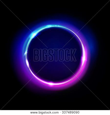 Neon Circle Sign Vector. Light And Glow Round Frame Isolated On Black Background. Purple, Violet, Bl