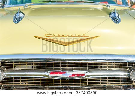 Rushmoor, Uk - April 19: Vintage American Chevrolet Front Grille Closeup At A Meeting Of Classic Veh