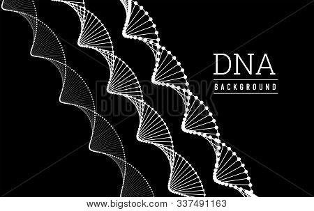 Dna Structure. Deoxyribonucleic Acid. Vector Illustration On Black