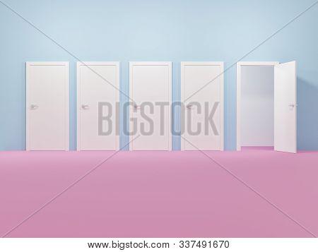 Room With Closed Doors With The Exception Of One Door Open - 3d Rendering