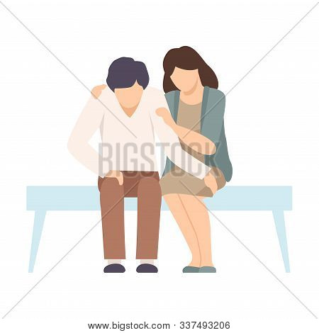 Faceless Woman Sitting On Bench Beside Man And Encouraging Him By Stroking His Arm Vector Illustrati