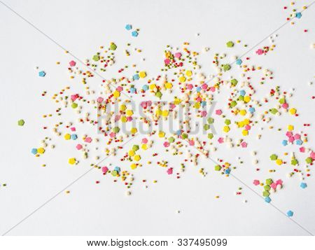 Colored Sugar Sprinkles Background, Sugar Sprinkle Dots, Decoration For Cake And Bakery, A Lot Of Sp