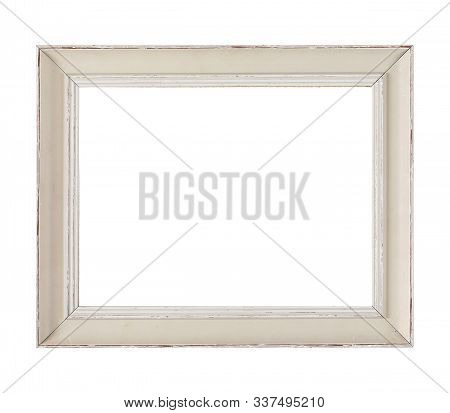 Isolated Photo Frame, Wooden Antique Photo Frame. Old And Used Photo Frame.