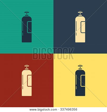 Color Industrial Gas Cylinder Tank For All Inert And Mixed Inert Gases Icon Isolated On Color Backgr