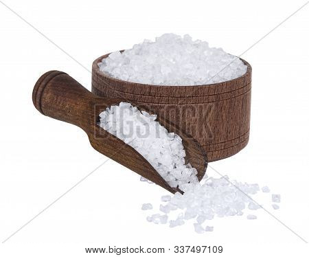 Sea Salt In Wooden Bowl With Scoop Isolated On White Background