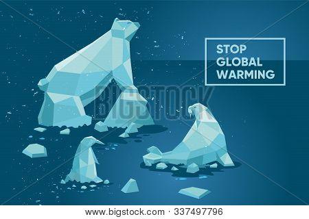Global Warming Concept. Ecology Poster Set With Polar Animals And Iceberg. Cartoon Vector Illustrati