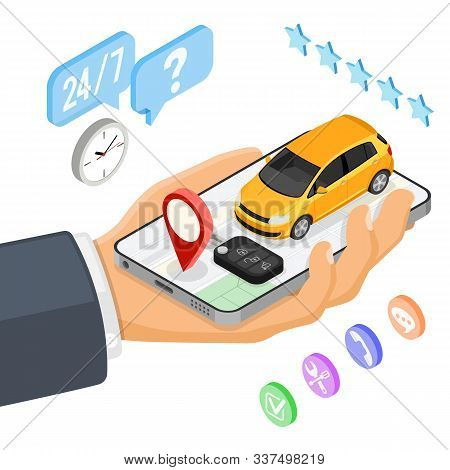 Car Sharing Service Concept. Man Online Choose Car For Carsharing. Auto Rental, Carpool, Shared For