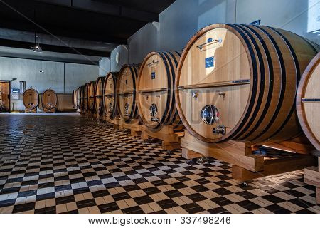 France Lyon 2019-06-21 Giant Wooden Barrels, Aging, Fermentation, Store In Modern Brocard Wine Cella