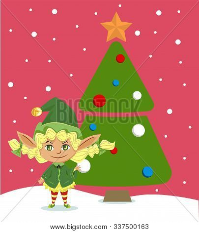 Elf Girl Decorating Christmas Tree For Celebration. Happy Dwarf And New Year, Fairy Tale Character I
