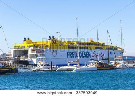 Morro Jable, Spain - December 9, 2018: Fred Olsen Ferry In The Port Of Morro Jable On Fuerteventura