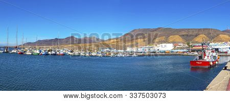Morro Jable, Spain - December 9, 2018: Panorama Of Port Of Morro Jable On The South Coast Of Fuertev
