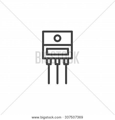 Power Transistor Microchip Line Icon. Linear Style Sign For Mobile Concept And Web Design. Electric