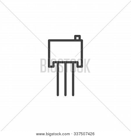 Electric Transistor Chip Line Icon. Linear Style Sign For Mobile Concept And Web Design. Power Trans