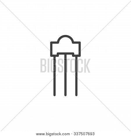 Electronic Thyristor Line Icon. Linear Style Sign For Mobile Concept And Web Design. Transistor Powe