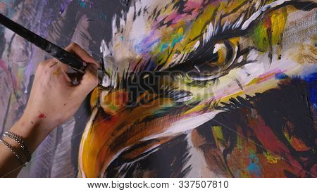 Artist Designer Draws An Eagle On The Wall. Craftsman Decorator Paints A Picture With Acrylic Oil Co