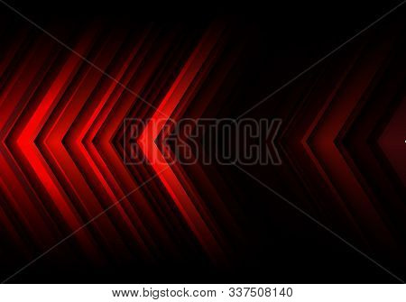 Abstract Red Light Line Arrow Speed Direction On Black Blank Space Design Modern Futuristic Technolo
