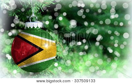 Christmas And New Year Background With A Flag Of Guyana
