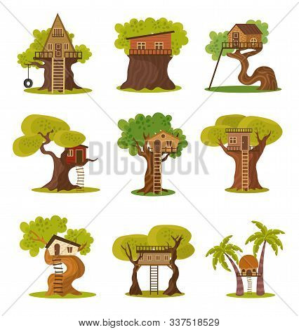 Set Of Different Styles Of Houses On Trees Vector Illustration