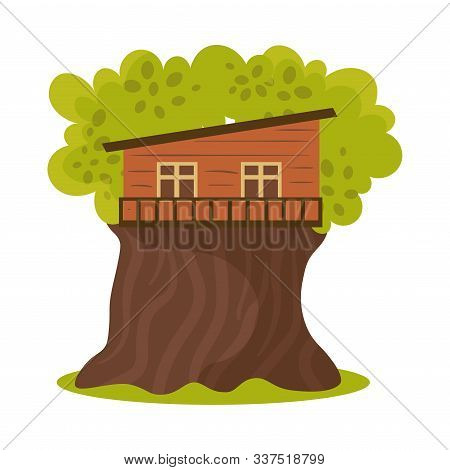 One Floor Wooden Oblique House On Blooming Tree Vector Illustration