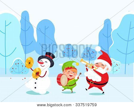 Musical Group Of Cartoon Characters Playing Instrument In Winter Park. Santa Claus, Snowman And Elf
