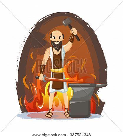 Ancient Greek Mythological God Hephaestus Vector Cartoon Illustration