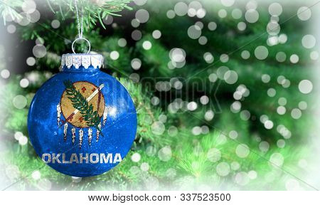 Christmas And New Year Background With A Flag State Of Oklahoma