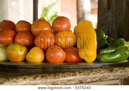 Food Plate, Shallow Dof, Focus Is On The Middle Tomatoes