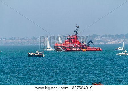 Cadiz, Spain - Jul 29: Spanish Maritime Rescue Ship Maria Zambrano Escorting The Sailing Ships Of Th