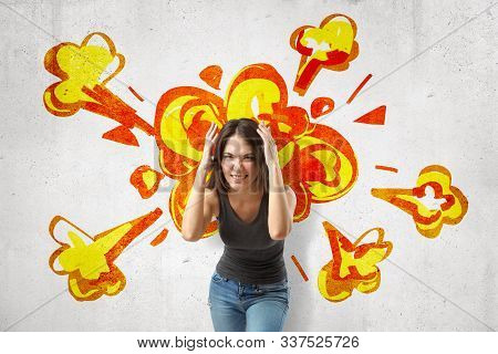 Young Brunette Woman In Casual Clothes Making Brain Explosion Gesture With Cartoon Explosion Drawn O