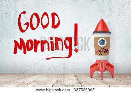 3d Rendering Of Toy Rocket Made Of Coffee Paper Cup, Standing On Wooden Floor, Near Wall With Title