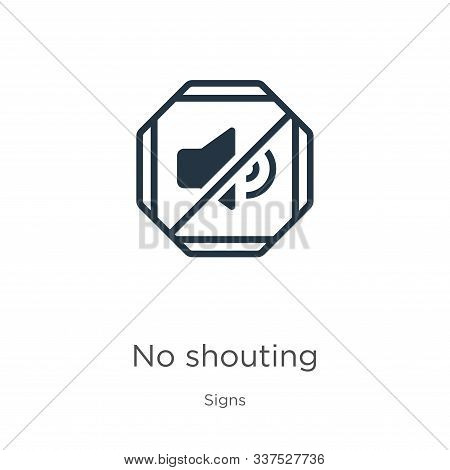 No Shouting Icon Vector. Trendy Flat No Shouting Icon From Signs Collection Isolated On White Backgr