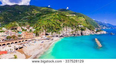 Monterosso al mare with great beaches, Cinque Terre national park in Liguria, Italy