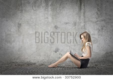Young woman using a laptop