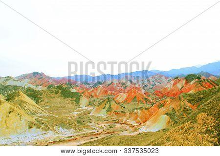 Qicai Danxia Landform, Zhangye City, Gansu Province, China