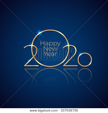 New Year 2020. Holiday Greeting Card. Shiny Golden 2020 On Dark Blue Background. New Year Design For