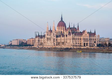 Hungarian Parliament In Budapest On The Danube River