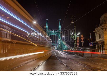 Night View Of Liberty Bridge, Capital Of Hungary.