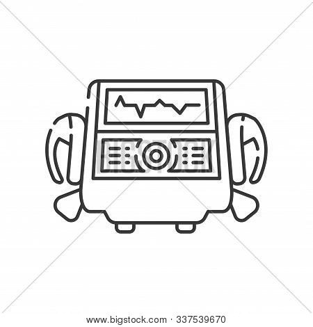 Defibrillator Line Black Icon. Electropulse Therapy Of Heart Rhythm Disorders Concept. Sign For Web