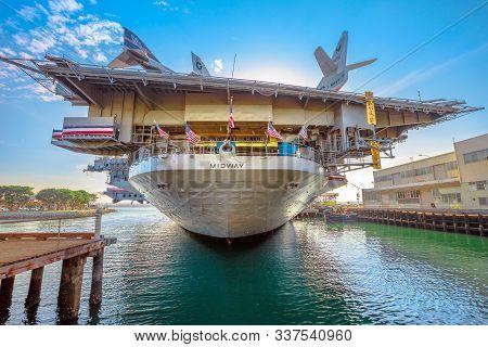 San Diego, Navy Pier, California, Usa - July 31, 2018: Midway Battleship Memorial In San Diego Calif